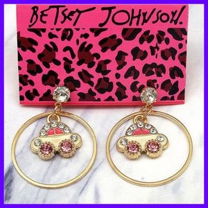 Betsey Johnson Fashion Enamel Looped Car Earrings
